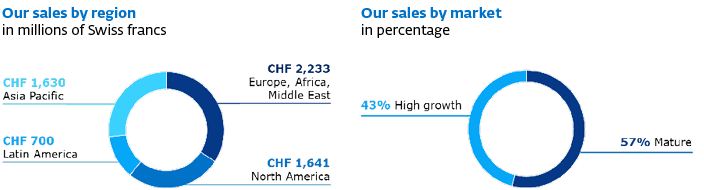 Our sales by region in 2019